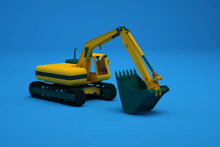 Graphic illustration of a large heavy construction machine with a bucket. Yellow excavator with a bucket, an isometric model on a blue isolated background. Close-up, side view. Archivio Fotografico