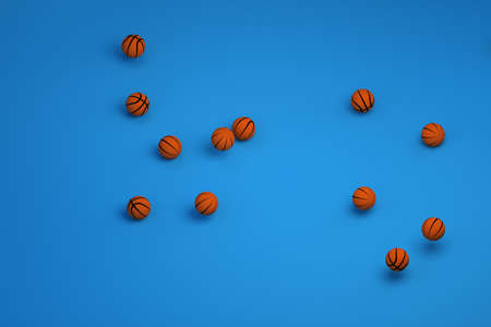 3D models of sports balls. Orange leather balls for playing basketball. Lots of round orange basketballs on an isolated blue background