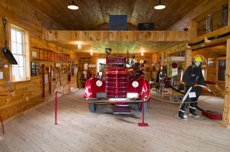 CUMBERLAND HERITAGE VILLAGE MUSEUM,CUMBERLAND,ONTARIO CANADAJUNE2,2017: This 1920-1930s era village has replica buildings as well as equipment and facilities typical of the period.