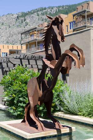 first nations: Bucking horse sculpture in Spirit Ridge Resort