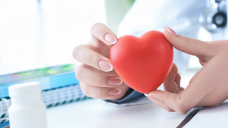 Female medicine doctor hold in hands red toy heart close -up. Cardio therapist student education concept Stok Fotoğraf