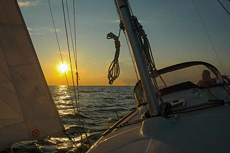 yachtsman: Sailboat Stock Photo