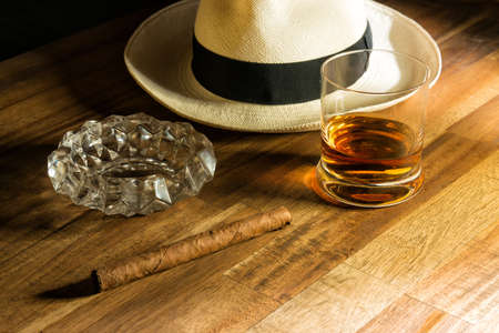 jamaica: Rum, cigar and a hat Stock Photo