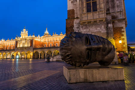 sculpture on the main square in Krakow Stock Photo