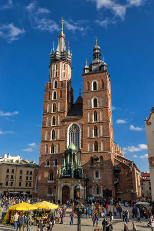 Church of Mariacki at the old town of Krakow in Poland