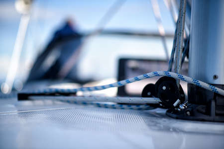 lines on the deck of a sailing yacht