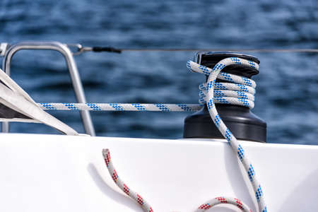 winch on the deck of a sailing yacht 版權商用圖片