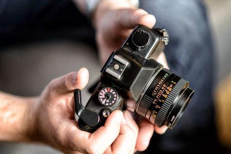 vintage camera with standard lens