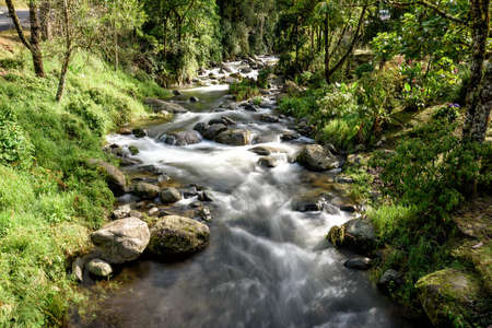 wild river with rapids in the mountains in Costa Rica Stock Photo