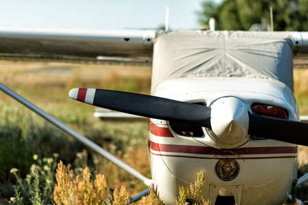 small propeller-driven aircraft on a small airfield in Germany Stock Photo