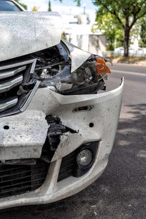 heavy damaged car at the roadside after an accident Reklamní fotografie