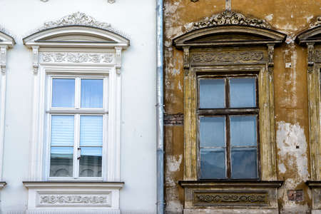 front of building in Poland with old and reconstructed part Banco de Imagens