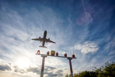 aircraft shortly before landing on the final approach to the airport