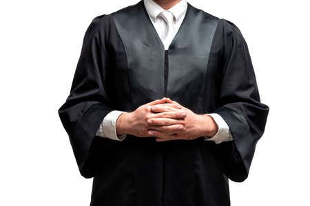 german lawyer with a classical black robe and white tie