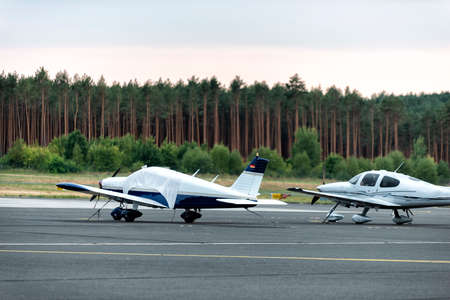 small propeller-driven aircraft on a small airfield in Germany Imagens