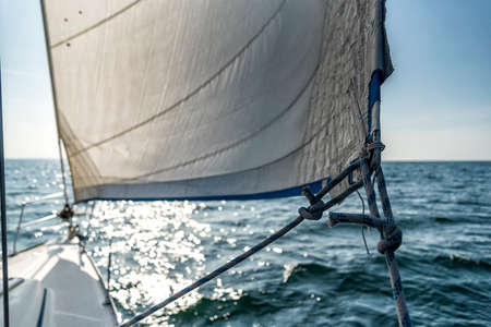 bow of a sailing yacht on the ocean