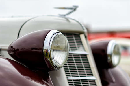 details of a classic car in a museum