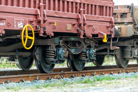 freight train with freight wagons at a shunt yard in Europe