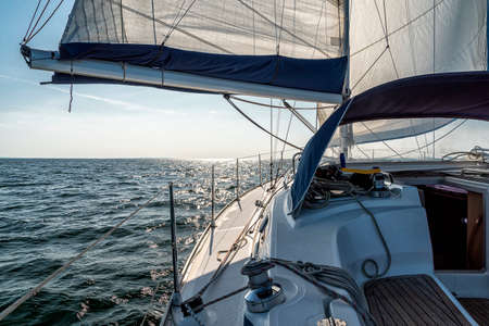 sailing on a sailing yacht on the ocean