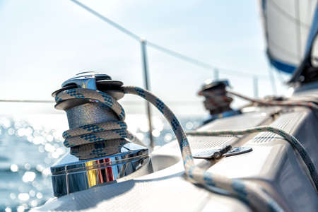 winch on the deck of a sailing yacht Banco de Imagens