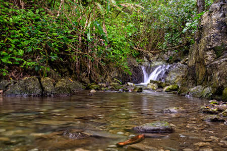 waterfall in the jungle in Costa Rica in central america 스톡 콘텐츠