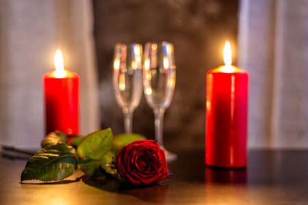 rose with a red bloom, champagne glasses and candles on Valentines day