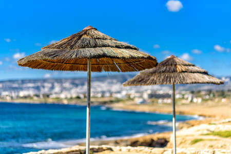 parasols on the coast of the Mediterranean Sea in Cyprus