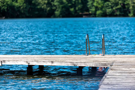 lake with bathing stage in summer in Europe Stockfoto