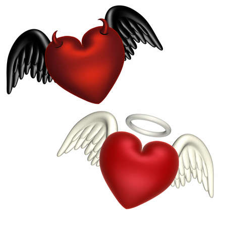 angel white: One heart with textured angel wings and a halo.  Another with black wings and horns. Isolated on a white background.