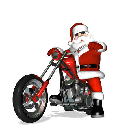 kris kringle: Santa looking cool with a bit of an attitude on his shiny new red and chrome chopper.