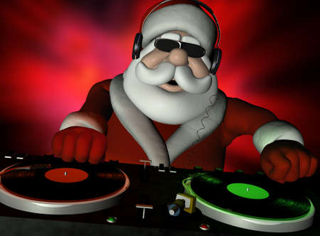 kris kringle: Big DJ SC is in Da House and mixing up some Christmas cheer.  Turntables with vinyl albums. Stock Photo