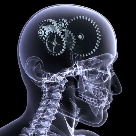 Close-up x-ray van een mannelijke skelet hoofd met een reeks van vis tuig voor het concept van het denken. Geïsoleerd op een zwarte achtergrond