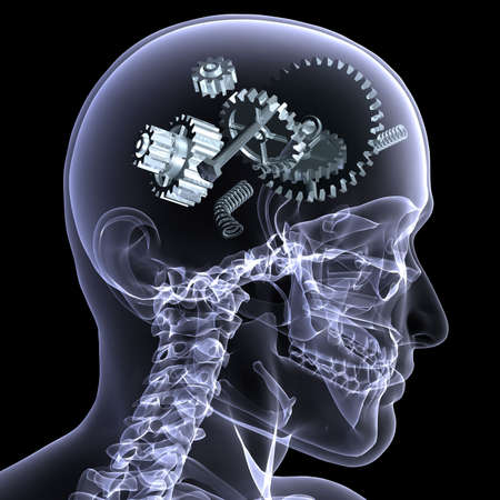 X-Ray of a male skeleton with a series of gears and other parts in his head coming apart. Isolated on a black background Фото со стока