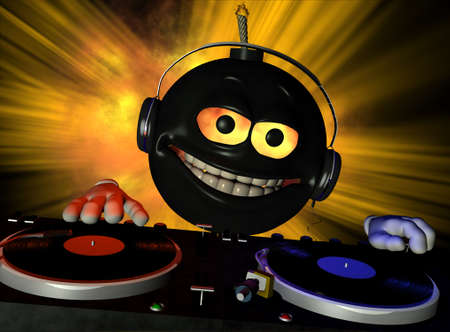 bomb: Emoticon DJ bomb with fire in his eyes and a lit fuse Turntables with vinyl albums.