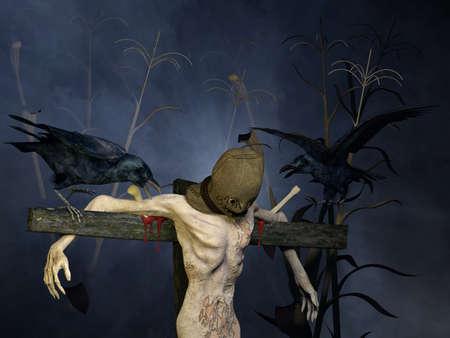 scarecrow: Espantap�jaros Un encapuchado espantap�jaros en un campo de ma�z en la noche montado en un poste de madera con un par de cuervos le atormentan Happy Halloween