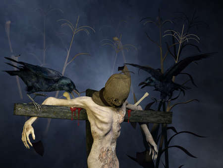 autumn scarecrow: Scarecrow   A hooded scarecrow in a cornfield at night mounted on a wooden pole with a couple of crows tormenting him   Happy Halloween Stock Photo