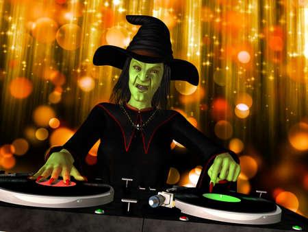 heks: Wicked Witch DJ Een boze heks is in het huis en het mengen van een aantal Halloween horror draaitafels met vinyl albums Stockfoto