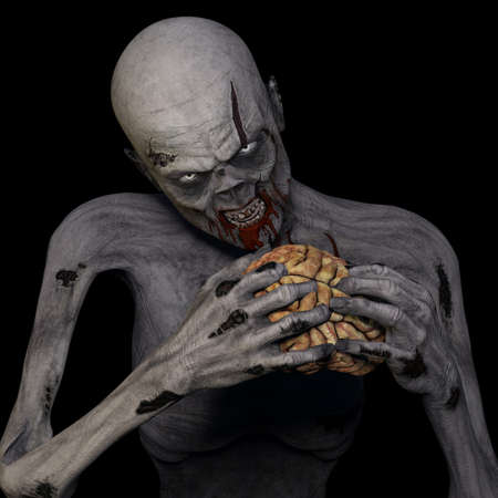 sinister: Zombie Eating Brain  An undead Zombie glaring at you while munching on a brain  Isolated on a black background  Stock Photo
