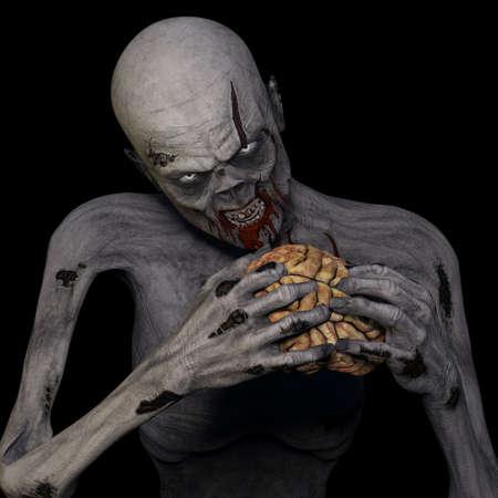 creepy monster: Zombie Mangiare Un Cervello Zombie non morti fissando voi mentre sgranocchiando un cervello isolato su uno sfondo nero Archivio Fotografico