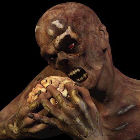좀비를 먹는 두뇌 빨간 눈은 검은 배경에 고립 뇌를 먹는 좀비 언데드