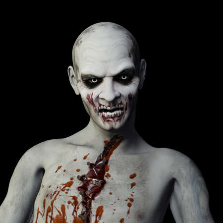 sinister: Another Zombie: Undead Zombie glaring at you. Isolated on a black background.
