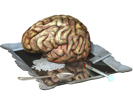 brain damage: Brain on drugs, with a needle, razor blade, spoon, and mirror.  Isolated on a white background. Stock Photo