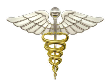Gold and Silver Caduceus Medical Symbol isolated on a white background