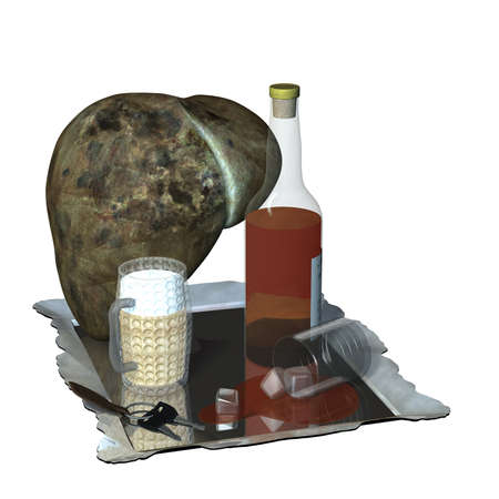 hepatic: Liver on drugs, with a bottle of scotch whiskey, a spilled glass of whiskey, a beer, a set of car keys, and mirrored tray.  Isolated on a white background. Stock Photo