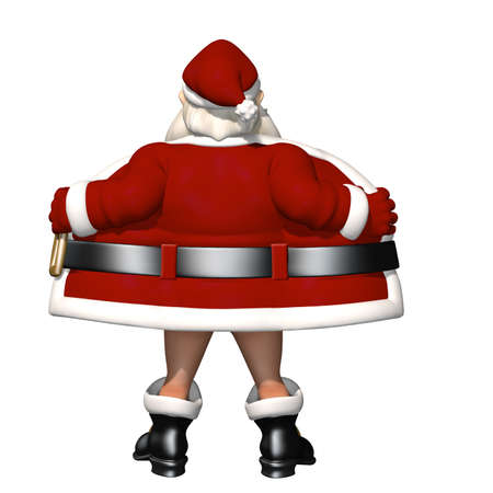Santa Flashing: Santa opening his coat to flash. Not wearing pants. Isolated on white. Bah Humbug Series