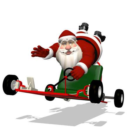 go kart: Santa Runaway Go Kart: Santa hanging on to a runaway go kart as it speeds away.