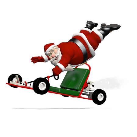 bah: Santa Runaway Go Kart: Santa hanging on to a runaway go kart as it speeds away.
