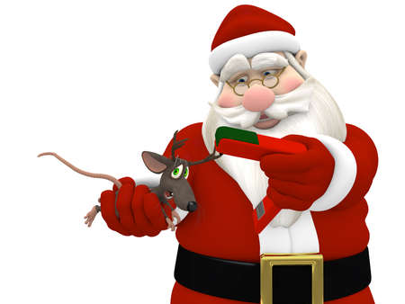 Santa Stapling Antlers on a Mouse. Isolated on white.