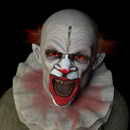 agony: Scary clown glaring at you with red eyes. Isolated on a black background.