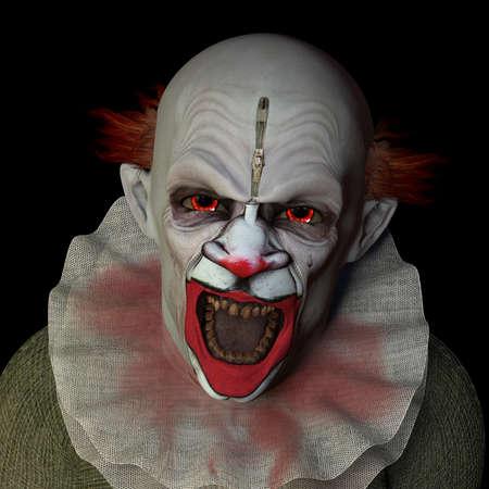 payaso: Scary clown miraba con ojos rojos. Aislado en un fondo negro. Foto de archivo